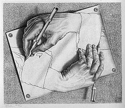 DrawingHands, M.C. Escher, 1948